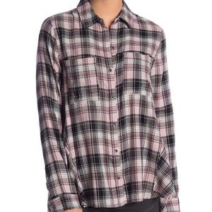 Melrose market swing plaid hi lo button down shirt